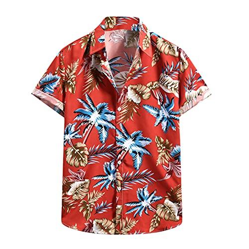 Camiseta de manga corta para hombre, diseño de flores hawaianas D_rojo. XXL