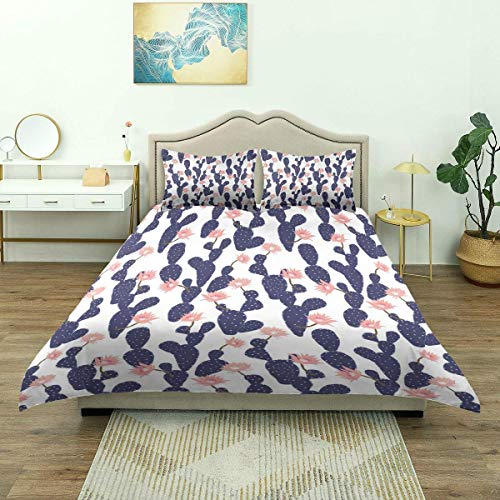 SmallNizi Duvet Cover,Navy and Blush Cactus Garden Print,Luxury Bedding Set Comfy Lightweight Microfiber