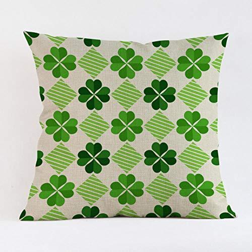 JIAORLEI With Pillow & Cushion Innercreative Fresh Lucky Green Clover Leaf Cushion Cover Geometric Linen Pillow Cover Modern Nordic Irish Sofa Chair Throw Pillows-40X40Cm