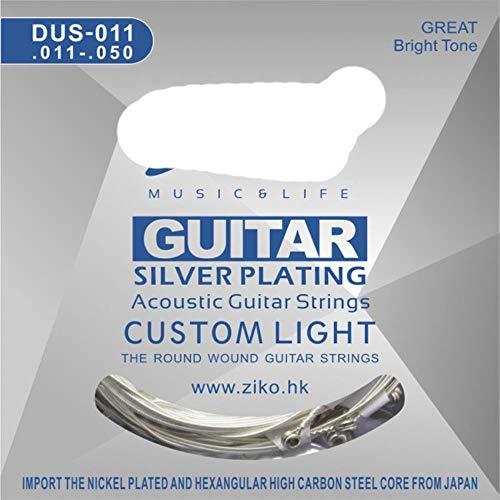 DACCU Akoestische gitaar snaren 010-048 011-052 012-053 Inch Zeshoek Koolstofstaal Core Zilver Plating Wound BUY 3 GET 1