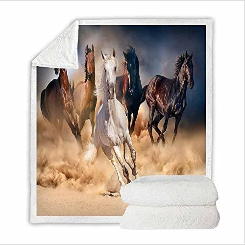 Coperta In Pile Cavallo In Corsa Animale 3D Con Stampa per Bambini Adolescenti Adulti Morbida Coperta per Letto Vacanza Divano,Regalo Di Compleanno Ideale 150X200Cm