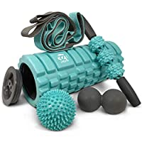 5 In 1 Foam Roller Set Includes Hollow Core Massage Roller with End Caps , Muscle Roller Stick , Stretching Strap , Double Lacrosse Peanut , Spikey Plantar Fasciitis Ball , all in Giftable Box - Teal by 321 STRONG