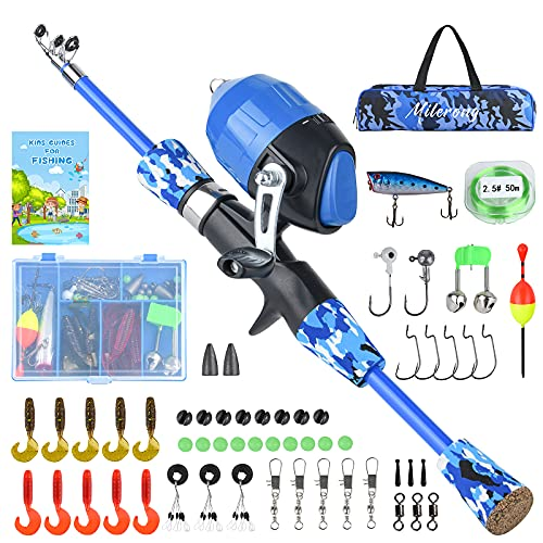 Milerong Kids Fishing Rod, Kids Fishing Pole Portable Telescopic Fishing Rod and Reel Combo Kit for Boys, Girls, Youth - with Spincast Fishing Reel, Fishing Tackles, Fishing Lures, Fishing Lines