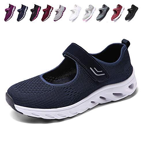 [JIAFO] 安全靴レディース スニーカー 介護シューズ 高齢者シューズ マジックテープ 通気性 柔軟性 軽量 メッシュ 中高齢者靴 ママシューズ 疲れにくい 滑り止めお母さん 婦人靴 看護師(22.5cm~26.0cm) (ブルーD, 24.5 cm)