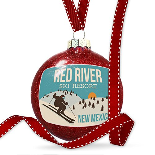 NEONBLOND Christmas Decoration Red River Ski Resort - New Mexico Ski Resort Ornament