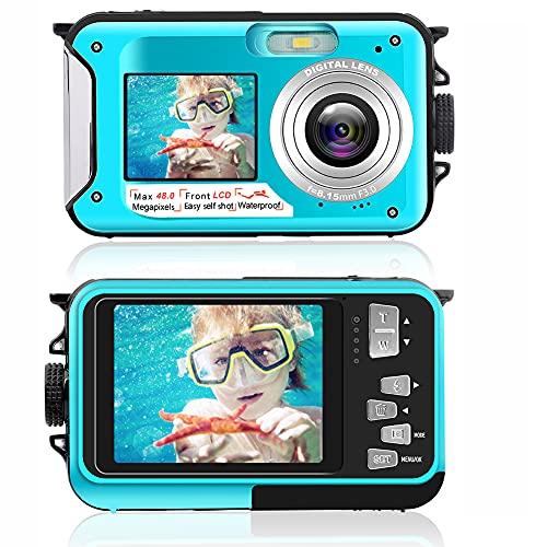 Unterwasserkamera 2.7K wasserdichte Kamera 48 MP Digitalkamera Unterwasserkamera Dual Screen LCD Farbdisplays wasserdichte Selfie Unterwasserkamera