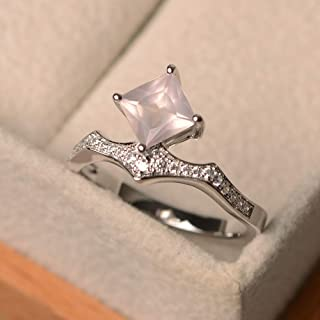 Pink Quartz Engagement Ring Sterling Silver Customized Princess Cut Gemstone Fine Jewelry Size 3-12