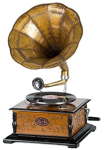 Grammofono a Tromba con Piatto in ceralacca Stile Antico evocativo