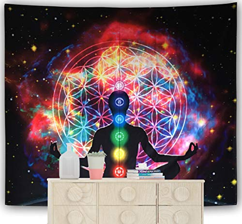 DESERT CAMEL Chakra Meditation Tapestry Colorful Psychedelic Indian Mandala Wall Hanging Trippy Yoga Buddha Statue Tapestries (Chakra 2, 59x79 in)