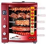 Brazilian Flame BG-05LXK-RED Red Brazilian Gas Rotisserie Grill with 5 Skewers and Upper Tray