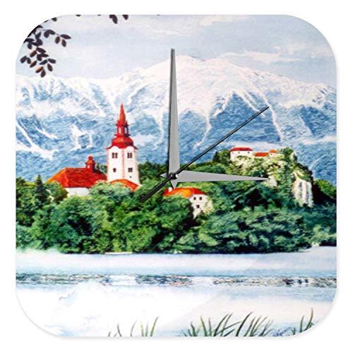 Wanduhr mit geräuschlosem Uhrwerk Dekouhr Küchenuhr Baduhr Welt Reise Kirchturm Berge Acryl Wand Deko Uhr Retro
