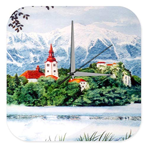 LEotiE SINCE 2004 Wanduhr mit geräuschlosem Uhrwerk Dekouhr Küchenuhr Baduhr Welt Reise Kirchturm Berge Acryl Wand Deko Uhr Retro