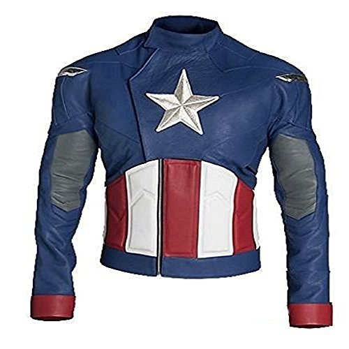 PRLWRS Men Celebrity Movies Fine Quality Costumes Jacket Trench Coats Outfits (S, Blue - Captain America Jacket)