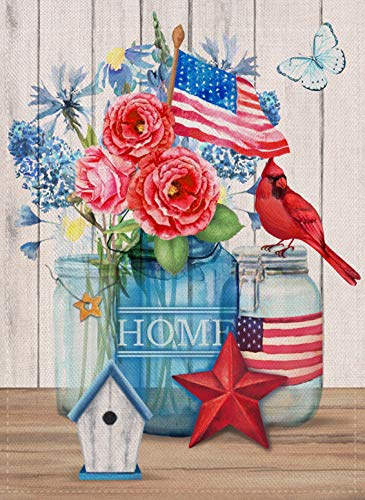 Covido Summer Home Decorative Garden Flag House Yard Outdoor Small Flag Cardinal Bird Watercolor Flowers, USA July 4th Holiday Outside Decorations American Patriotic Seasonal Decor Flag 12 x 18