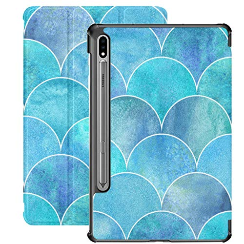 Watercolour Fish Scales Pink Blue Fundas Galaxy Tab A para Samsung Galaxy Tab S7 / s7 Plus Funda para Samsung Galaxy S7 Soporte Funda Trasera Galaxy Tab S7 Plus Funda