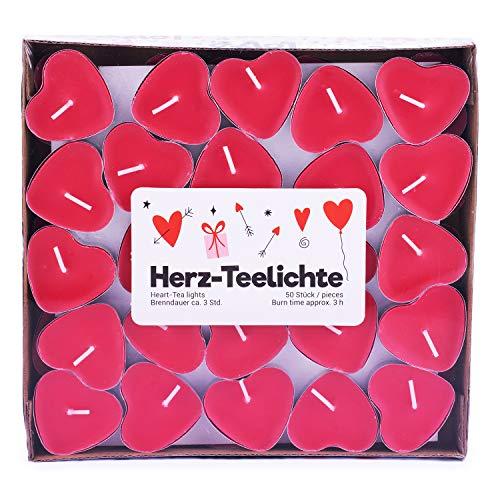 """pajoma Teelichte \""""Love Me\"""" im 50er Pack, Brenndauer 3 Stunden, in Herzform"""