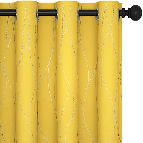 Deconovo Blackout Yellow Curtains and Drapes for Teens, 84 Inch Long - Heat Blocking Dots Curtains for Decoration (52 x 84 Inch, Mellow Yellow, 2 Panels)