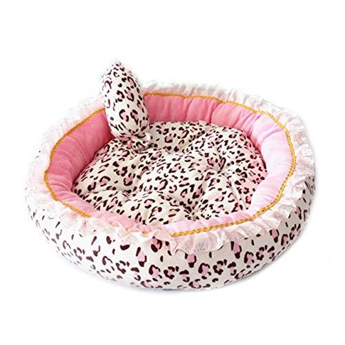 Yangfan Mascota camas suaves Casa Caseta de Perro Gato Nido Almohada Dormir Rosa con la almohadilla del perrito de la cesta Sofá princesa peluche mascota Ocioso (Color : Round shape, Size : S 40CM)