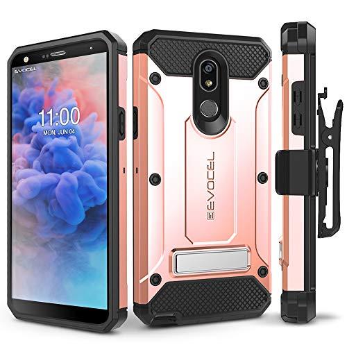 LG Stylo 5 Case, Evocel [Explorer Series Pro] Premium Full Body Case with Glass Screen Protector, Belt Clip Holster, Metal Kickstand for LG Stylo 5, Rose Gold
