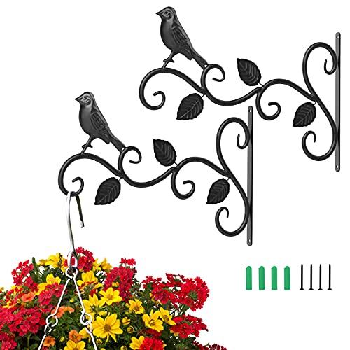 Roylvan 2 PZS Soportes Colgantes para Plantas, 30 cm Ganchos Hierro Antioxidantes Estables Pared Decoración para Jardín Balcón Pasillo Farolillos Macetas Cestas Placas Campanas Jaulas, Pájaro Negro