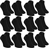 Rainbow Socks - Damen Herren Bunte Sneaker Bambus Socken - 12 Paar - Schwarz - Größen 39-41