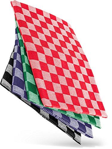 WoldoClean Geschirrtücher Geschirrtuch Trockentücher Küchen-Handtuch 100% Baumwolle 50x 70 4er Set ca. 200g/qm (Mixed)