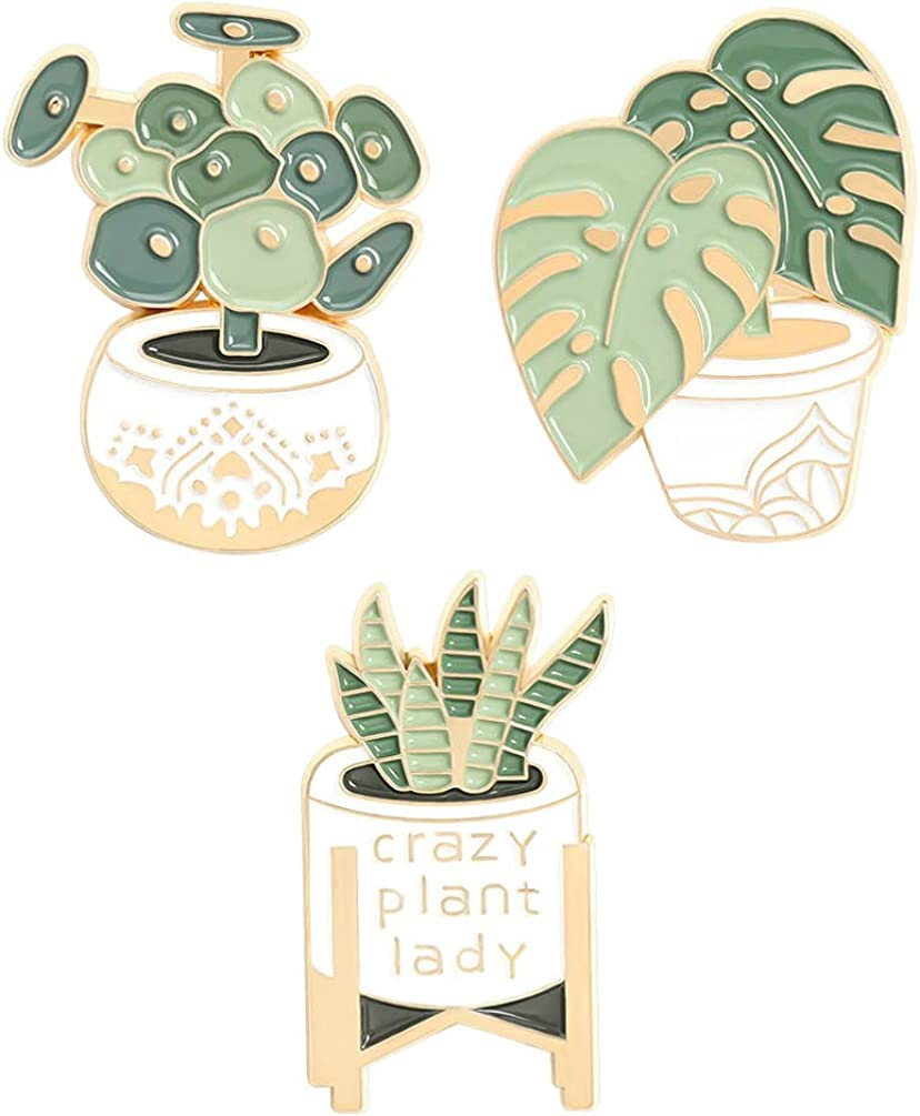 VALICLUD Austin Mall 3pcs Metal Brooch low-pricing Alloy Plant Brooc Succulents Brooches