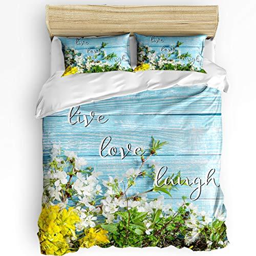 Cherry Blossoms Spring Flowers on Blue Wood Grain Duvet Cover Sets Super Soft 3pcs Bedding Sets Fresh Rustic, Easy Care Microfiber Bedspread with Hidden Zipper Closure (1 Bed Set + 2 Pillow Shams)