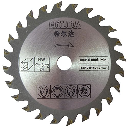 Cirkelzaagblad voor Skil 5330AB Compact Mini Plunge Cirkelzaag 85mm Diameter x 10mm Boor x 24T Houtzaagblad