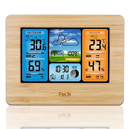 KiGoing Wetterstation Funk mit Außensensor, Digitales Innen und außen Thermometer Hygrometer, Elektronischer Multifunktionswecker RF Funkwetteruhr Ewiger Kalender