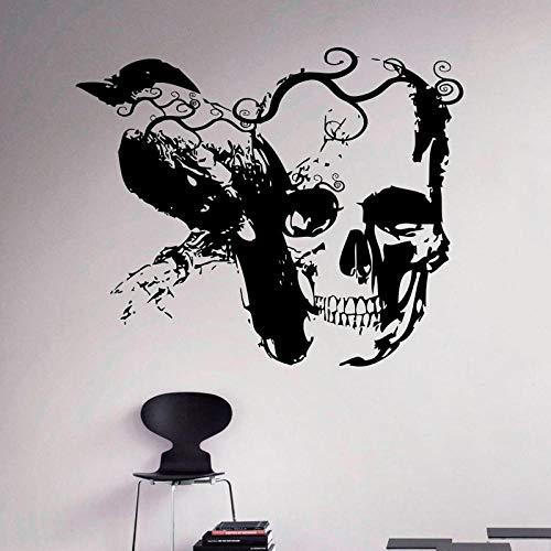 Pegatinas de pared 69x57cm gótico cuervo y calavera de azúcar calcomanía de pared vinilo pegatina arte decoración Interior del hogar artículos para el hogar habitación dormitorio decoración A713