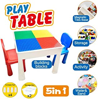 YCBABY Kids Activity Table Set Upgrade-5 in 1 Magnetic Blocks Table, Craft Table,Water Table,Sand Table and Building Blocks Table with Storage - Includes 2 Chairs - Functional,Eost-Effective