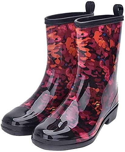 Botas de Lluvia de Tubo Medio, Impermeables, para Mujer, Antideslizantes, para Llevar (Color : C, Size : 36.5 EU)