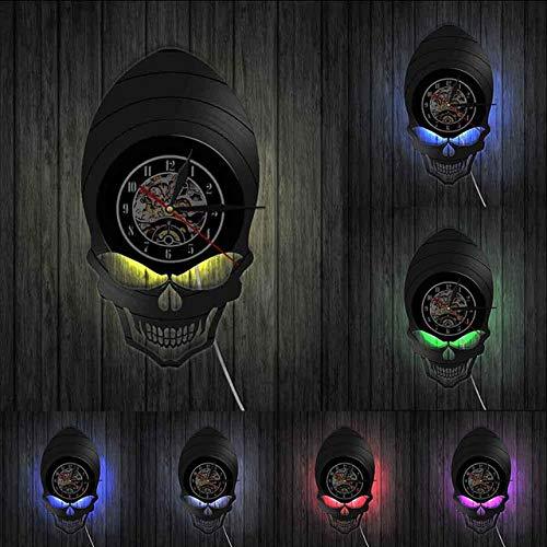 Demon Alien Skull Retro Clock Watch Goth Scary Wide Cheekbones Eyes Skeleton Vintage Vinyl Record Wall Clock Halloween Wall Deco