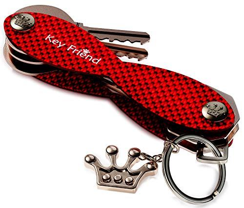 Keyfriend Smart Key Organizer for Women - Compact Key Holder - Up To 18 Keys - Keychain Organizer - Carbon Fiber Compact Key Organizer (Deep Red)
