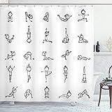 ABAKUHAUS Duschvorhang, Stockmann der Verschiedene Yoga Bewegungen Ausübt die Körperliches Erholung Stärke Zen Druck, Blickdicht aus Stoff mit 12 Ringen Waschbar Langhaltig Hochwertig, 175 X 200 cm