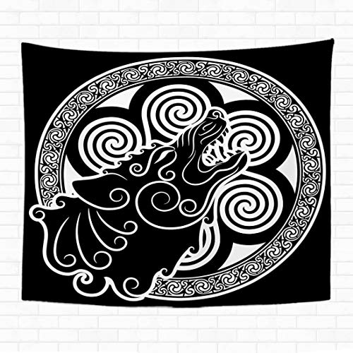 Topyee 60x80 Inch Tapestry Wall Hanging Wolf on Celtic Style Howling Wolf in Celtic Ornament is olated on White Home Decorative Tapestries Wall Blanket for Dorm Living Room Bedroom