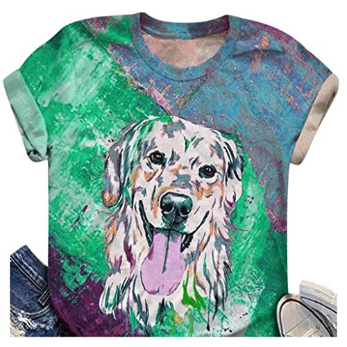 Summer Shirts Tops Plus Size Women Short Sleeve 3D Printed O-Neck Tops Tee T-Shirt Blouse Green