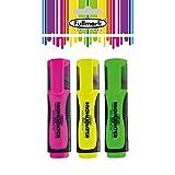 FULLMARK Textmarker-Set, Fluorescent Highlighter, Chisel Tip, Sortierte Farben, 3 Stück - Pink /...