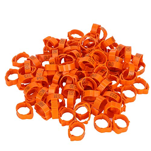 GLOGLOW Chicken Leg Rings, 100pcs Numbered Tag Markers for Birds Chicken Duck Bird Poultry Foot Ring Buckle Clip Ring with Sign Poultry Leg Bands Bird Chicks Ducks Clip-on Rings(Orange)