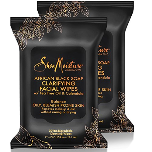 Shea Moisture Makeup Remover Face Wipes, African Black Soap, With Tea Tree Oil & Calendula, Removes Makeup & Dirt to Clarify Oily Blemish Prone Skin,