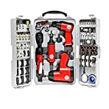 Set herramientas aire comprimido 71 piezas Llave impacto Martillo cincelador Destornillador carraca
