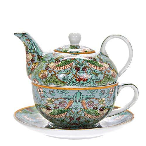 """The Leonardo Collection """"William Morris Strawberry Thief' LP94033 Tee-Set aus feinem Porzellan, Teekanne, Tasse und Untertasse, Motiv Vögel/Blumen/Pflanzen, blaugrün"""