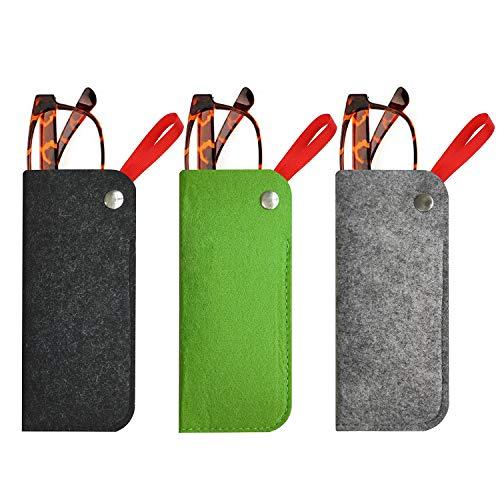 ARPDJK Filz Brillenetui, 3 Pack 7in x 3.1in Portable Travel Slip in Weich Brillenetuis, Tragbaren Brillenetui Geeignet Sonnenbrille, lesebrille