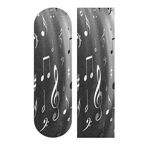 Hoja de cinta de agarre para monopatín, 33 x 9 pulgadas, color blanco y negro notas musicales papel de lija para Rollerboard Longboard Griptape sin burbujas Scooter Grip Tape