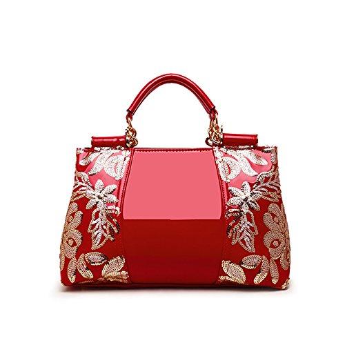 Tisdaini® Damenhandtaschen Mode Schultertaschen Lackleder Paillettenstickerei Shopper Umhängetaschen Rot