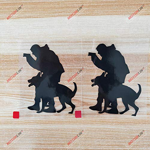 2X Black 4'' Police Dog German Shepherd K9 K-9 Unit Car Truck Decal Sticker Vinyl Training b