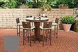CLP Gartenbar Set Mari XL Aus Wetterbeständigem Polyrattan I Bartisch Mit Eingelassenem Edelstahlkübel Und 6 Stühlen, Farbe:braun-meliert, Polsterfarbe:Eisengrau