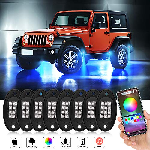 JoaSinc Rock Lights RGB LED Rock Lights for Trucks with Bluetooth Controller Phone App/Remote Control Timing Flashing Music Mode Underglow Neon LED Light for Cars Off Road SUV ATV Vehicles (8 Pods)