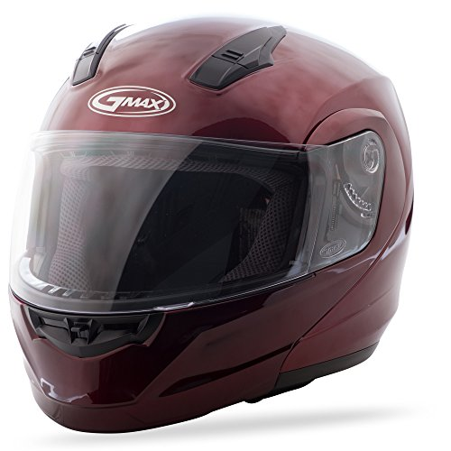 GMAX MD-04, DOT Approved Modular Helmet for Motorcycles, Scooters, Spyders, Mopeds and More (Wine RED)